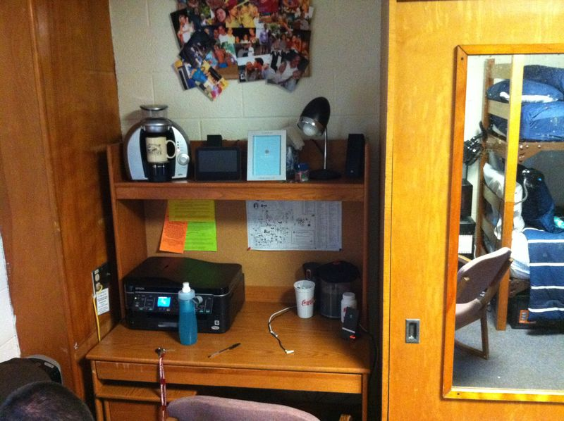 Matt's desk area in dorm room August 2011