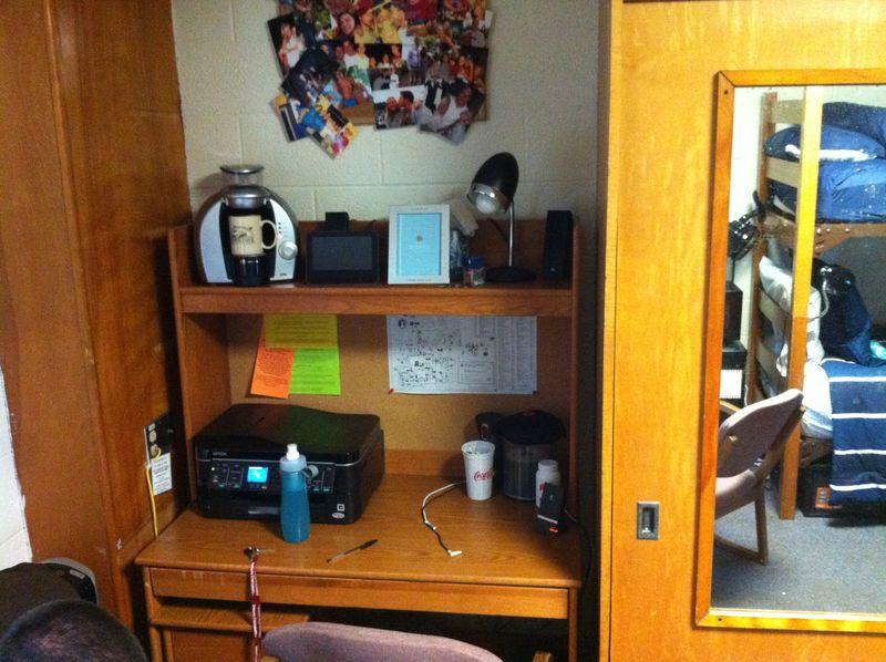 Matt's desk area in dorm room August 2011