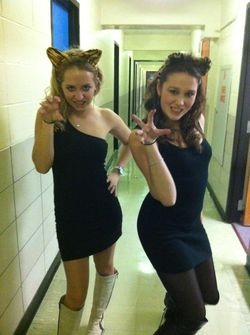 Ali and Grace as Halloween cats
