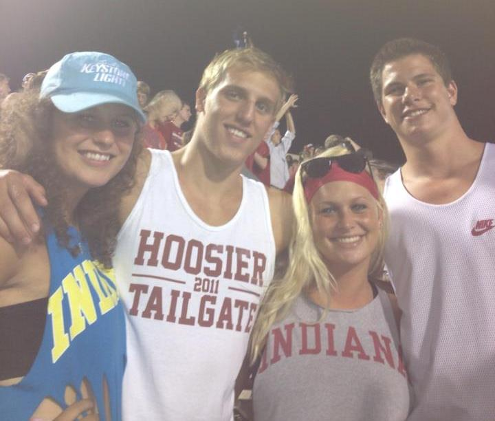 Maddie Webb, Ian Boggs, Allie Day, Matt Gerth IU vs Ball State fb game Sept 2012