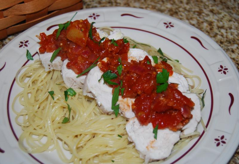 Ewe Chicken w tomato and onion chutney 011